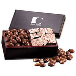 Faux Leather Box with Chocolate Almonds & Peppermint Bark