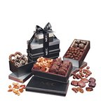 Faux Leather Gift Tower of Elegance with Chocolates and Nuts