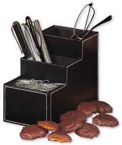 Faux Leather Desk Organizer with Pecan Turtles