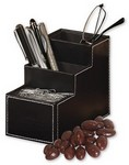 Faux Leather Desk Organizer with Chocolate Covered Almonds