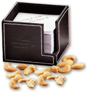 Faux Leather Note Holder with Fresh Roasted Jumbo Cashews