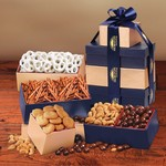 Tower of Snacks Gold and Navy Gift Tower