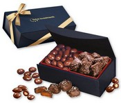 Chocolate Almonds and Sea Salt Caramels in Navy Magnetic Box