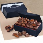 Chocolate Sea Salt Caramels & Cocoa Dusted Truffles in Navy Magnetic Box
