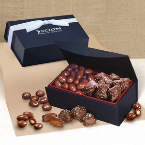 Chocolate Covered Almonds & Chocolate Sea Salt Caramels in Navy Box