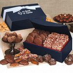 English Butter Toffee and Pecan Turtles /Navy Magnetic Closure Box