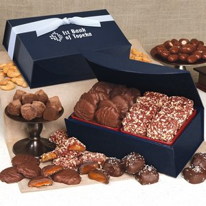 English Butter Toffee & Pecan Turtles /Navy Magnetic Closure Box