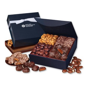 Navy Magnetic Closure Treasure Box with Assortment of Chocolates and Nuts