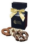Chocolate Covered Pretzels in Navy Gift Box with Logo