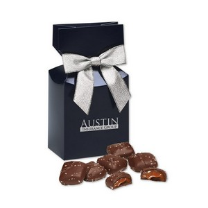 Chocolate Sea Salt Caramels in Navy Gift Box with Logo