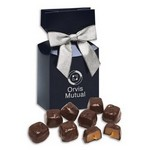Barrel-Aged Bourbon Caramels in Navy Gift Box
