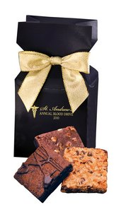 Fresh Baked Brownies in Navy Gift Box with Logo