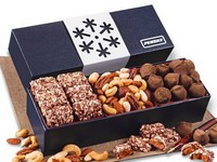 Snowflake Wrapped Box of Holiday Treats - Toffee, Truflles and Nuts