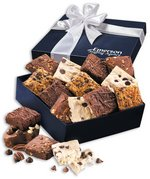 Chocolate Brownies in Navy Gift Box with Logo