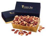 Deluxe Mixed Nuts in Navy and Gold Gift Box