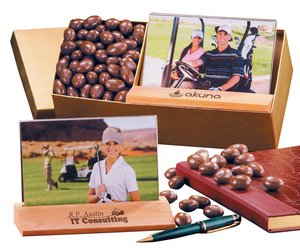 Chocolate Almonds with Hardwood & Acrylic Photo Frame 