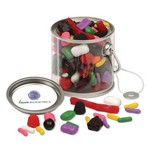Clear Miniature Paint Bucket Pails with Licorice Lovers Mix