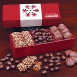 English Toffee, Pecan Turtles & Chocolate Almonds in Red Box