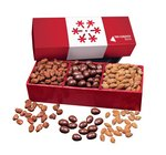 Almond Favorites in Red Snowflake Gift Box with Your Logo