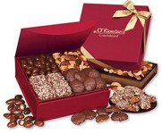 Red Magnetic Closure Keepsake Box Filled with Chocolate and Nuts