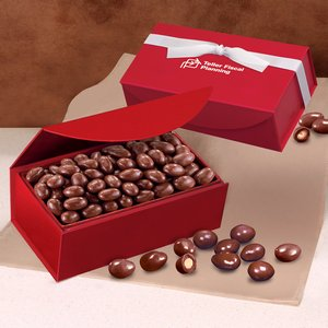 Chocolate Covered Almonds in Red Magnetic Closure Box