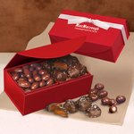 Chocolate Covered Almonds and Chocolate Sea Salt Caramels in Red Magnetic Box