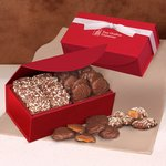 English Butter Toffee and Pecan Turtles in Red Magnetic Closure Box