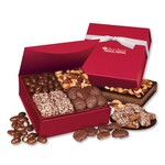 Red Magnetic Closure Keepsake Box with Butter Toffee, Turtles and Nuts