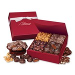 Red Magnetic Closure Treasure Box with Assortment of Chocolates and Nuts
