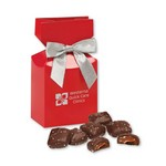 Chocolate Sea Salt Caramels in Red Gift Box with Your Logo