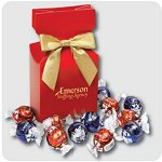 Lindt-Lindor Chocolate Truffles in Red Gift Box with Logo