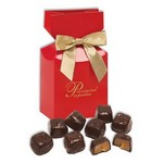 Barrel-Aged Bourbon Caramels in Red Gift Box