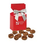 Gourmet Bite-Sized Chocolate Chip Cookies in Red Premium Delights