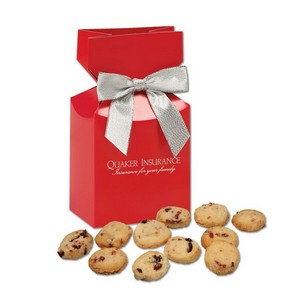 Gourmet Bite-Sized Cranberry Shortbread Cookies in Red Premium Delights Box