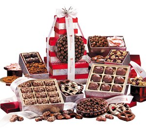 Chocolates, Candy and Nuts Red & Silver Giant Gourmet Tower 