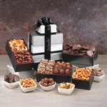 Delectable Abundance Black and Silver Gift Tower