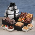 Sweet & Salty Sensations Black and Silver Gift Tower