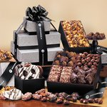Silver & Black Tower of Sweets Black and Silver Gift Tower