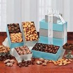 Silver & Aqua Tower of Treats with Your Logo
