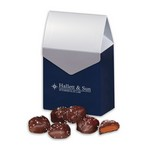 Chocolate Sea Salt Caramels in Gable Top Gift Box