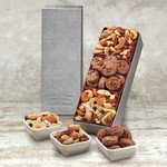 Taste Temptations Silver Box with Cookies, Trail Mix and Nuts