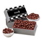 Chocolate Covered Almonds with Black Plaid Sleeve