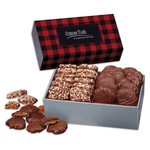 Toffee and Turtles in Gift Box with Red and Black Plaid Sleeve