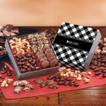 Gourmet Holiday Gift Box with Black Plaid Sleeve