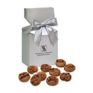 Gourmet Bite-Sized Chocolate Chip Cookies in Silver Premium Delights Box