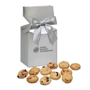 Gourmet Bite-Sized Cranberry Shortbread Cookies in Silver Premium