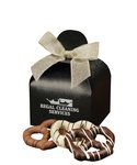 Chocolate Covered Pretzels in Black  Gift Box with Your Logo