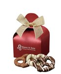 Chocolate Covered Pretzels in Red Gift Box with Your Logo