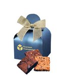 Fresh Baked Brownies in Blue Gift Box with Your Logo
