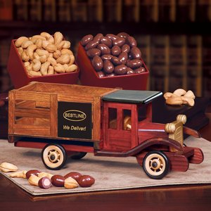 Classic Wooden 1925 Stake Truck with Chocolate Almonds & Extra Fa